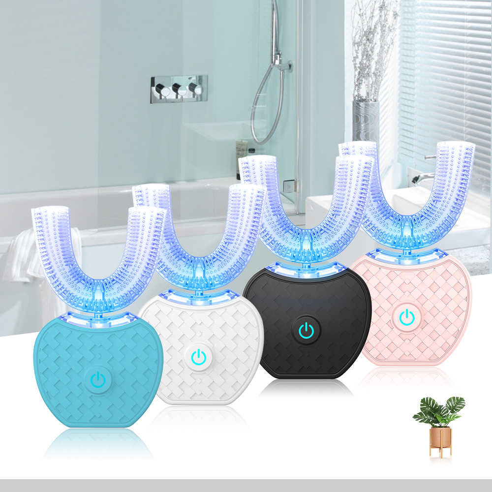 360 Degrees Intelligent Automatic Sonic Electronic Toothbrush USB Rechargeable U Shape With 4 Modes Timer Blue Light