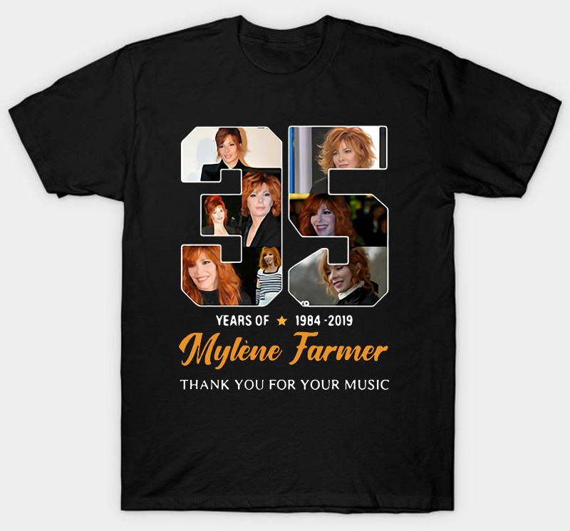 Freeship 35 Years Of Mylene Farmer 1984 2019 Thank You Shirt Hip Hop 100% Cotton Streetwear Tee Shirt Homme Tops Tees S-3L