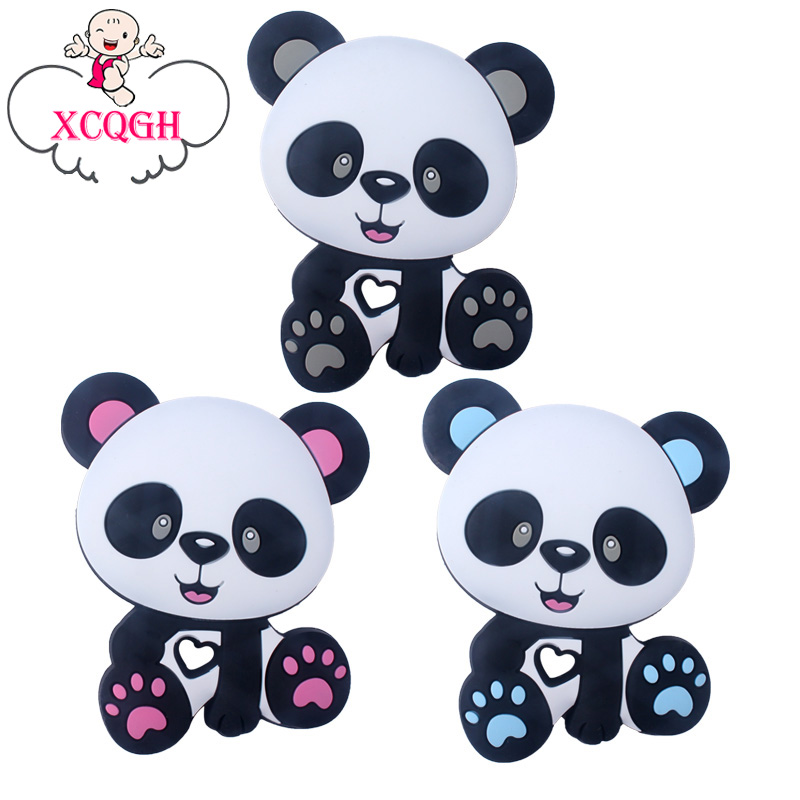 XCQGH 5PCS Food Grade Silicone Baby Teether Cartoon Cute Animal Panda Molar Rod Silicone Baby Teether