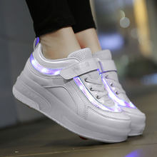 ULKNN Children Toddler Light Up LED Wheels Skate USB Shoes Fashion Kids Sneakers Kids brand light Shoes A911(China)