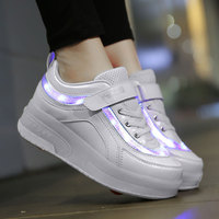 ULKNN Children Toddler Light Up LED Wheels Skate USB Shoes Fashion Kids Sneakers Kids brand light Shoes A911