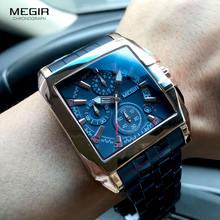 Megir мужские часы из нержавеющей стали Модные Роскошные наручные