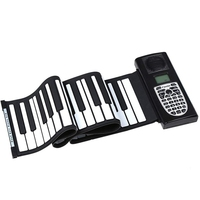 49 Key Hand Roll Piano, Portable Silicone Folding Multi Function Piano, LCD Display Built In Speaker Suitable for Children Adult