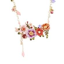 Chic Enamel Glazed Peony Flower Tassel Pendant Long Necklace