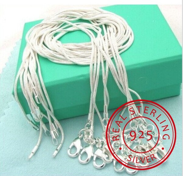 10pcs/lot Promotion! Wholesale 925 Sterling Silver Necklace, Silver Fine Jewelry Snake Chain 1mm Necklace 16 18 20 22 24