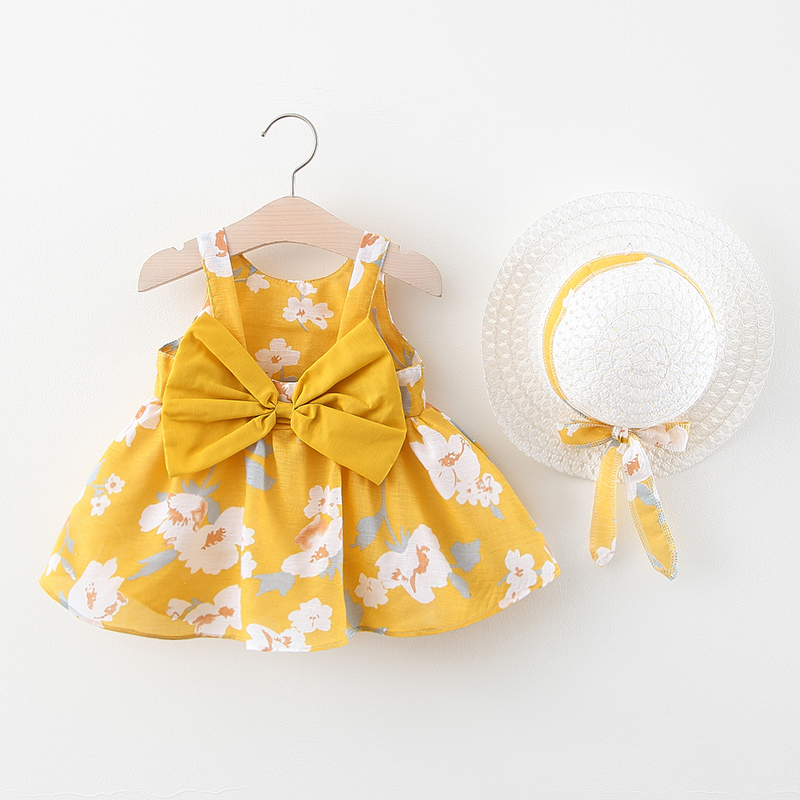 Baby Girl Dress 2020 Summer Bow Print Dress With Hat 2 Piece Baby Clothes Suits Bohemia Style Newborn  Infant Toddler Dress