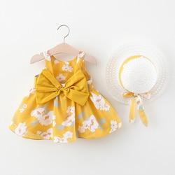 Платье для маленьких девочек коллекция 2020 года, летнее платье с бантом и шляпой, комплект одежды для малышей из 2 предметов платье в богемном...