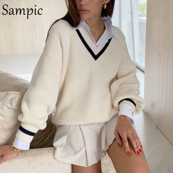 Sampic Winter Women Korean Preppy Style Knitted Basic Sweater Pullover Long Sleeve Beige Casual Sweater