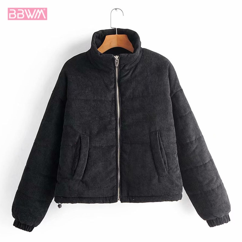 Fashion Solid Color Casual Zipper Corduroy Long Sleeve Warm Stand Collar Women's Jacket Black Chic Female Coat Tops