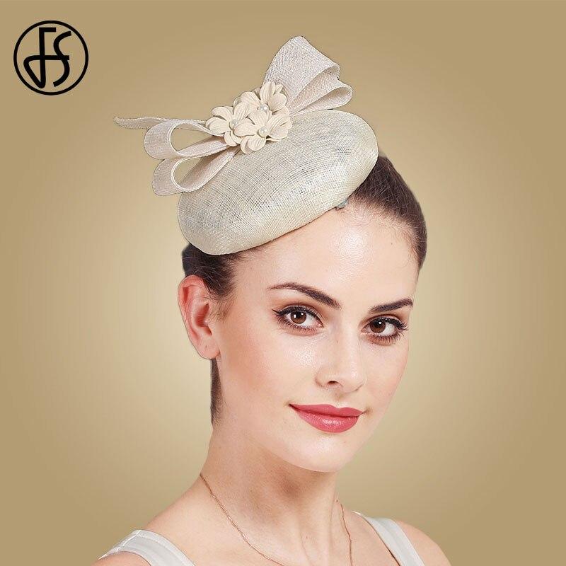 FS Vintage Beige White Derby Fascinator Hat Women Flower