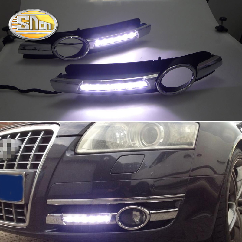 2PCS For Audi A6 C6 2005 2006 2007 2008 Chromed Strip Waterproof ABS Car DRL Lamp 12V LED Daytime Running Light Daylight SNCN image