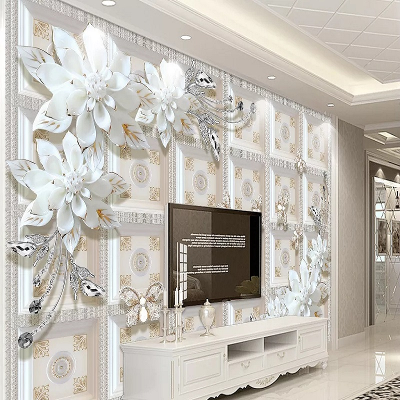 Custom Large Mural 3D Wallpaper Modern Fashion Creative Luxury Pearl Jewelry Chinese Lattice Bedroom Wall Decor 5D Embossed