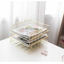 Модный креативный Золотой металлический поднос для файлов, органайзер для журналов, настольный набор ручной работы, многослойный органайзер для файлов