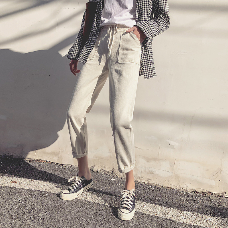 Straight-Cut Jeans Women's Loose-Fit Spring And Autumn 2019 New Style Korean-style Students High-waisted Online Celebrity Dad Pa
