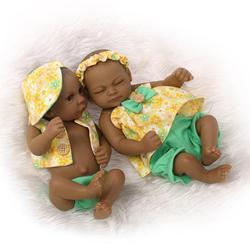 Adorable réaliste bambin Bonecas fille garçon 27cm Reborn bébé poupée noir afro-américain corps complet Silicone Bebe cadeaux de noël