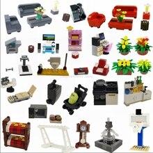 Creador de bloques de bloqueo Moc, muebles para el hogar familiar, sofá de ensamblaje, juguetes de bebé para niños, bloques de ciudad, juego de Lockings, piezas creativas para niños
