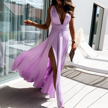 Sexy Deep V Neck Hollow Out Dresses Women Elegant Backless High Slit Party Dress 2021 Spring Summer Sleeveless Long Beach Dress