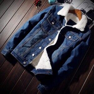Image 5 - ผู้ชาย Denim แจ็คเก็ตอินเทรนด์ฤดูหนาว Warm Fleece บุรุษ Outwear แฟชั่น Jean แจ็คเก็ตชายคาวบอยสบายๆขนาด 5XL 6XL