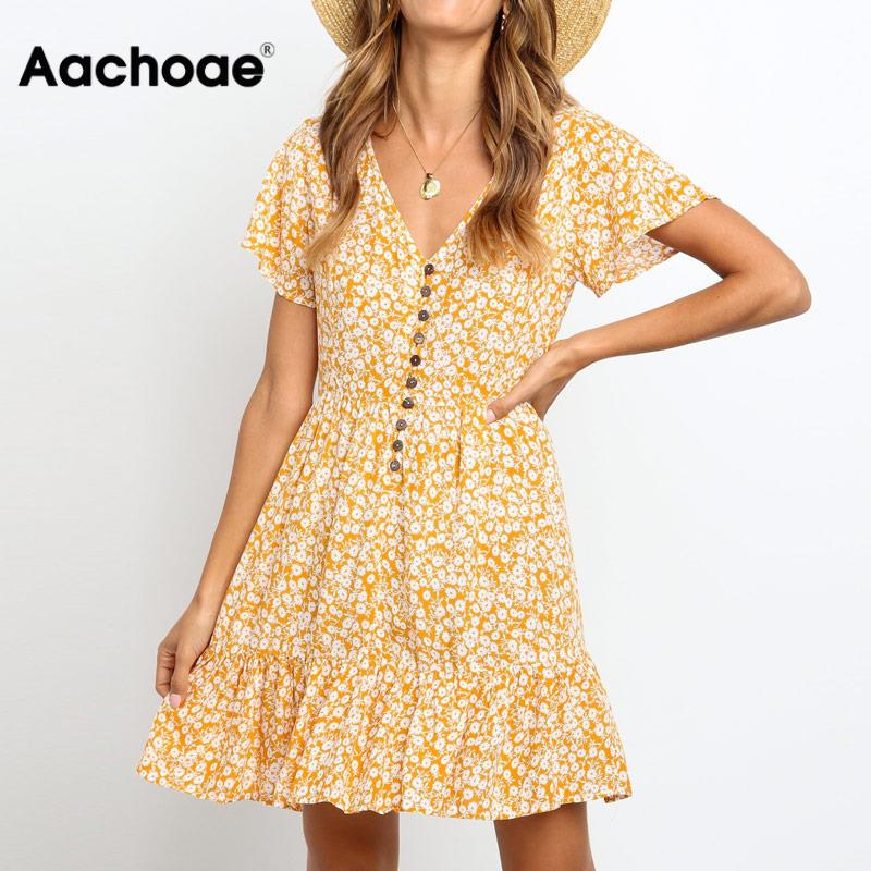 Casual Beach Dresses For Women 2020 Sexy Deep V Neck Floral Print Ruffle Summer Dress Boho Short Sleeve A Line Party Mini Dress