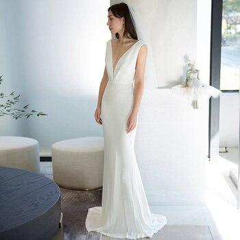 White Evening Dress Simple New Pleat Deep V-neck Sleeveless Elegent Mermaid Floor-length Plus size Women Formal Party Dress C005