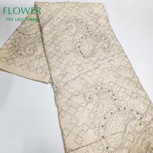 Бежевый Базен Riche кружевной ткани с камнями и бисером мягкий хлопок нигерийская морская свадебное платье вышитое бисером швейный Материал бассейна