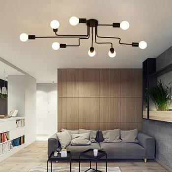 Lámparas clásicas de techo para sala de estar Luminaria de hierro forjado...