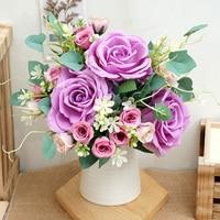 Silk Künstliche Rose Gefälschte Blumen Großen Kopf Balkon Wohnzimmer Weihnachten Hochzeit Wohnkultur Bouquet Kranz Sammelalbum Zubehör