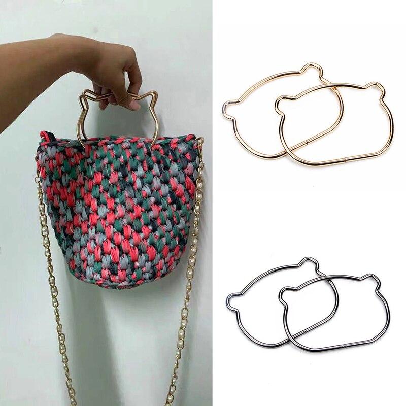 Making Handbag Purse Frame Cat Ear Metal Bag Handle Women Accessories For Bags Replacement For DIY Shoulder Bags Obag Handles
