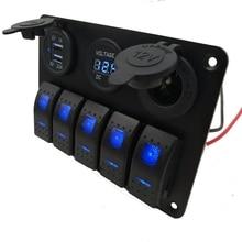 5Gang On/Off 12-24V Rocker Switch Panel with DC 5V Dual USB Charger Digital Voltmeter Suitable for Car Marine Boat Yacht