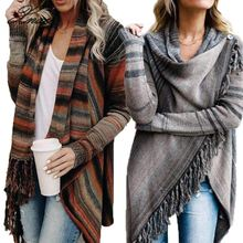 Xnxee Women Tassel Knitted Sweater Poncho Casual Stripe Irregular Loose Cardigan Cape Coat Tops Autumn Winter geometrical pattern cape loose sweater with taeesl details