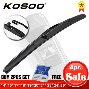 "KOSOO Wiper Blade U hook Universal Car Natural Rubber Auto Windshield Wipers 14""16""17""18""19""20""21""22""24""26"" Hybrid Accessories(China)"