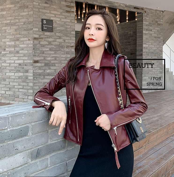 Ücretsiz kargo, 2020 yeni kaliteli kadın hakiki deri ceket. Moda koyun derisi biker ceket, rahat ince deri ceket, toptan