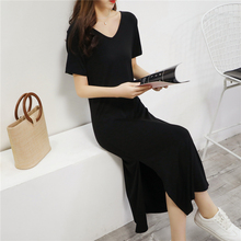 2020 Plus Size Summer Dresses for Women Maxi A-line Mid-calf V-neck Modal Long Casual
