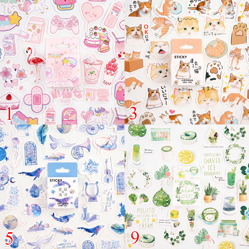 46Pcs/Box Kawaii Cat Stickers Cute Stationery Stickers Bullet Journal Stickers For Kids DIY Diary Scrapbooking Decor Supplies