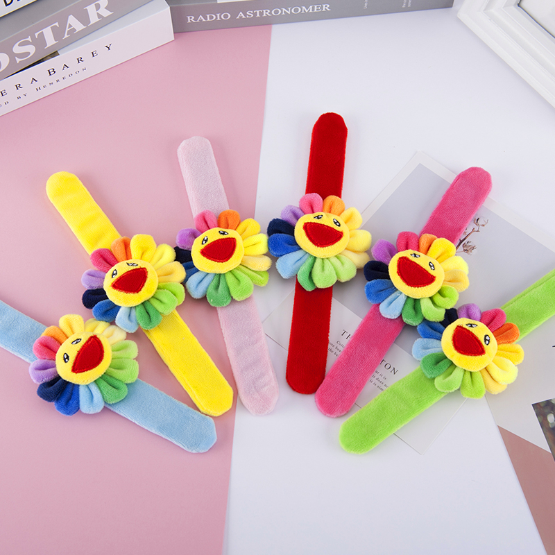 Cute Stuffed Colored Sunflower Wristband Pat Ring BraceletInfant Appease Toys Plush Toy Doll Baby Hand Bell Baby Rattle Childs