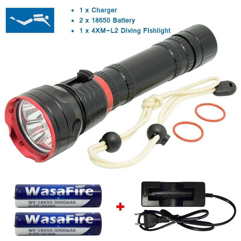 Potente linterna LED subacuática portátil 3 modos linterna de buceo 18650 batería linterna de exploración de Camping