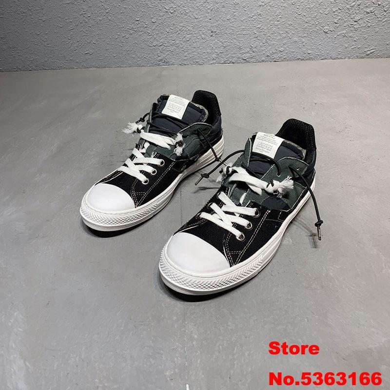 Sureme 2020 New Top Version Maison Margiela Paris Canvas Shoes Men Women Sneakers Vulcanized Patchwork Sneakers Men High/Low
