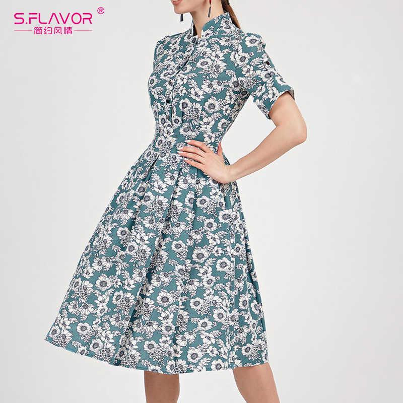 S. FLAVOR zapinany na jeden guzik sukienka z nadrukiem dla kobiet elegancka koszulka z krótkim rękawem stójka sukienka trapezowa wiosna lato Slim Vestidos De