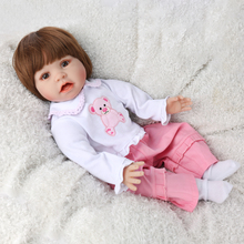Realistic Baby Doll 3/4 Silicone Reborn Babies Doll Girl And Open mouth bebes reborn brown eyes doll Birthday Gift children toy