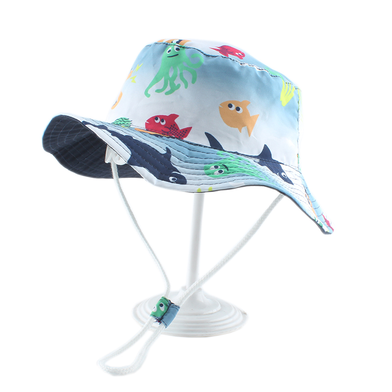 Cartoon Fish Shark Print Cute Baby Hat Kids Bucket Hats Boy Girl Panama Summer Cap Toddler Wind Proof Sun Hat