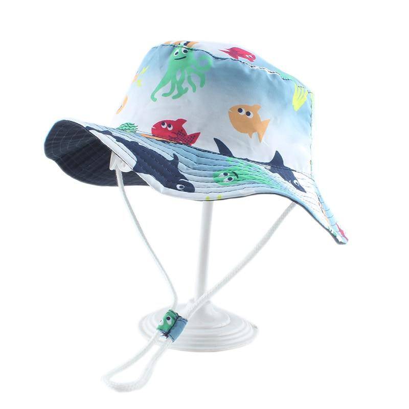 Cartoon Fish Shark Print Cute Baby Hat Kids Bucket Hats Boy Girl Panama Summer Cap Toddler Wind Proof Sun Hat