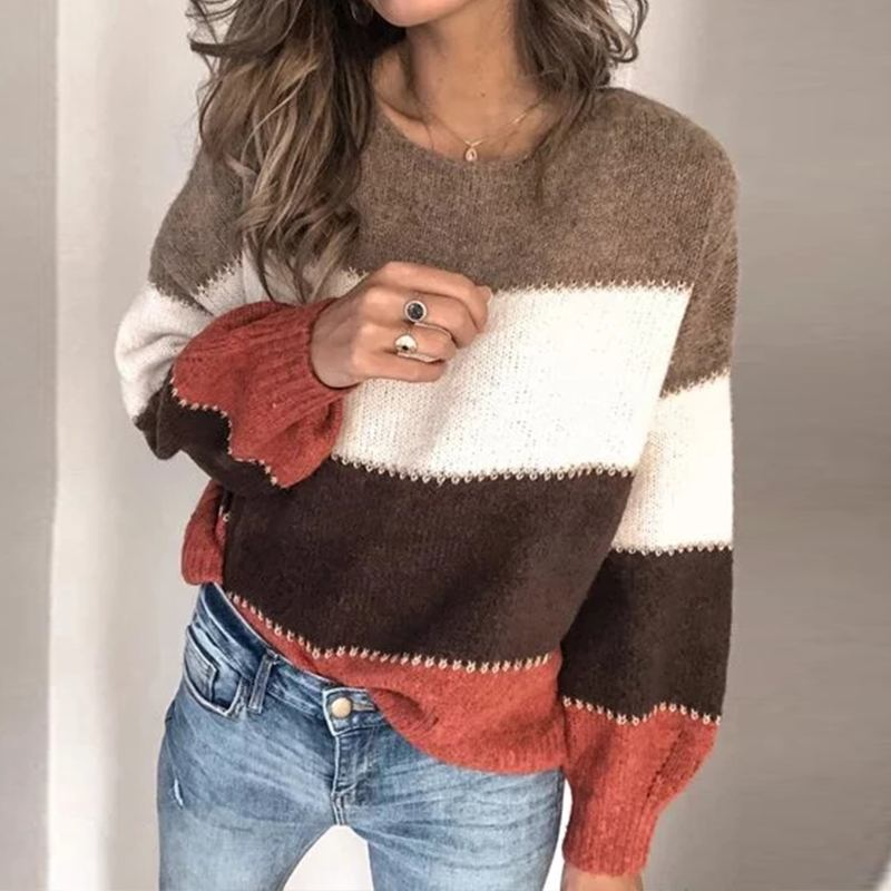 Women Jumper Blouse ZANZEA Autumn Patchwork Sweater Casual Long Sleeve Knitwear Pull Top Spring Fashion Knitted Pullovers Female