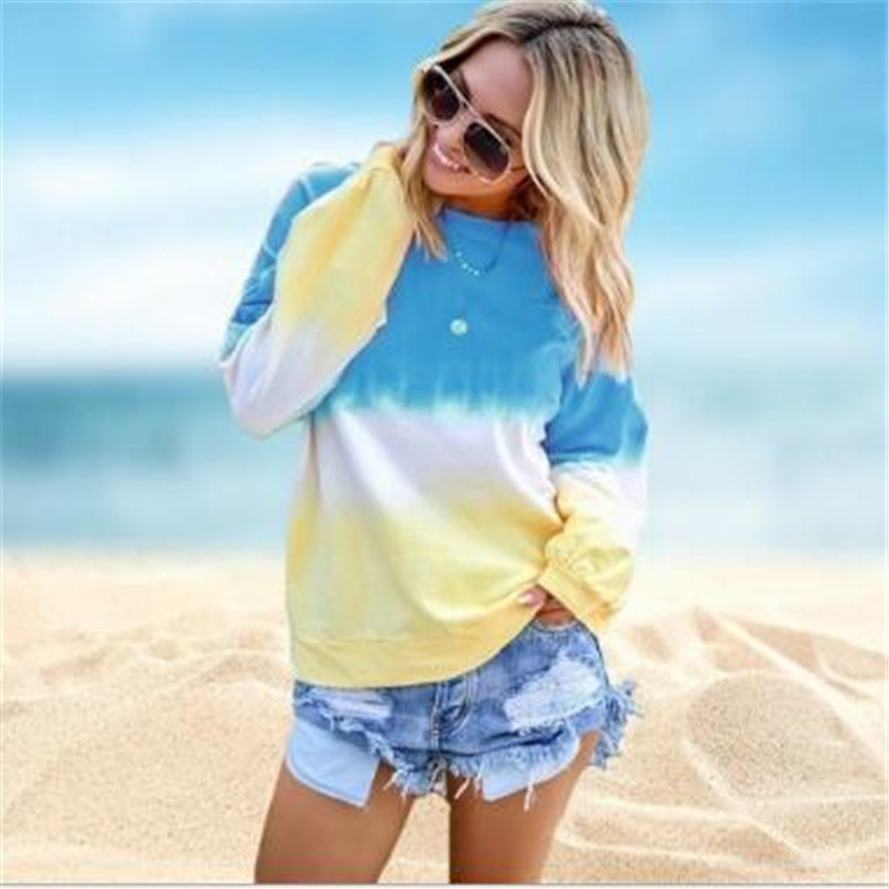 Rainbow Female Spring Gradient Printed Long-Sleeved Round Neck Stitching Street Women's Clothes