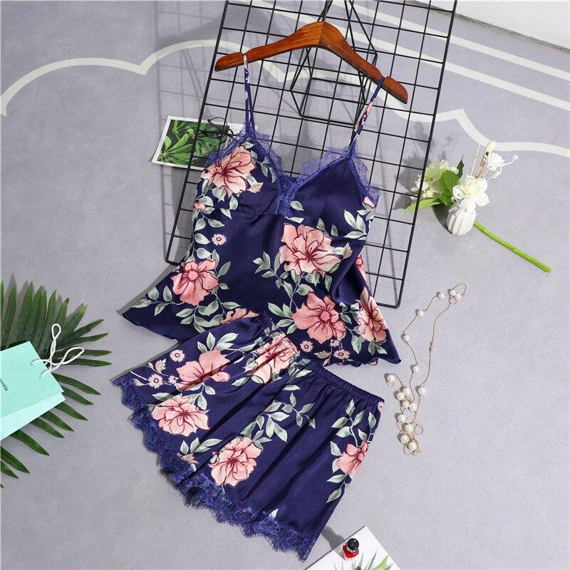 JULY'S SONG 2 Piece Women Pajamas Stain Lace Sleepwear Top Floral Strap Pyjama Sling Summer Silk Pajama Woman Shorts HomeWear