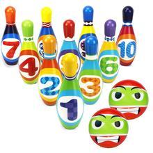 1 Набор детская игрушка для боулинга красочные арабские цифры мягкие булавки с шариком для боулинга детская интеллектуальная развивающая и...