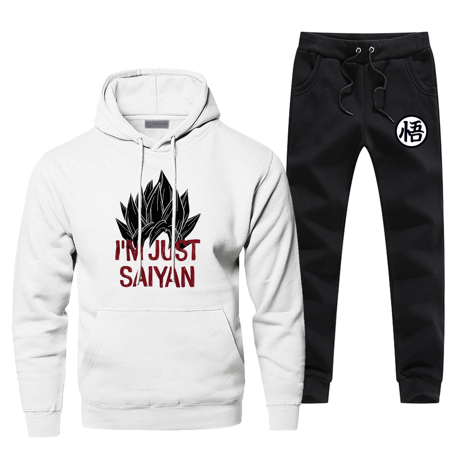Dragon Ball Z Hoodies Pants Set Men I'm Just Saiyan Super Suit Sweatshirt Sweatpants Sportswear Autumn Pullover 2 PCS Tracksuit