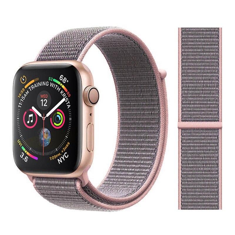 Для наручных часов Apple Watch, версии 3/2/1 38 мм 42 мм нейлон мягкий дышащий нейлон для наручных часов iWatch, сменный ремешок спортивный бесшовный series4/5 40 мм 44 мм - Цвет ремешка: Color5 Pink sand
