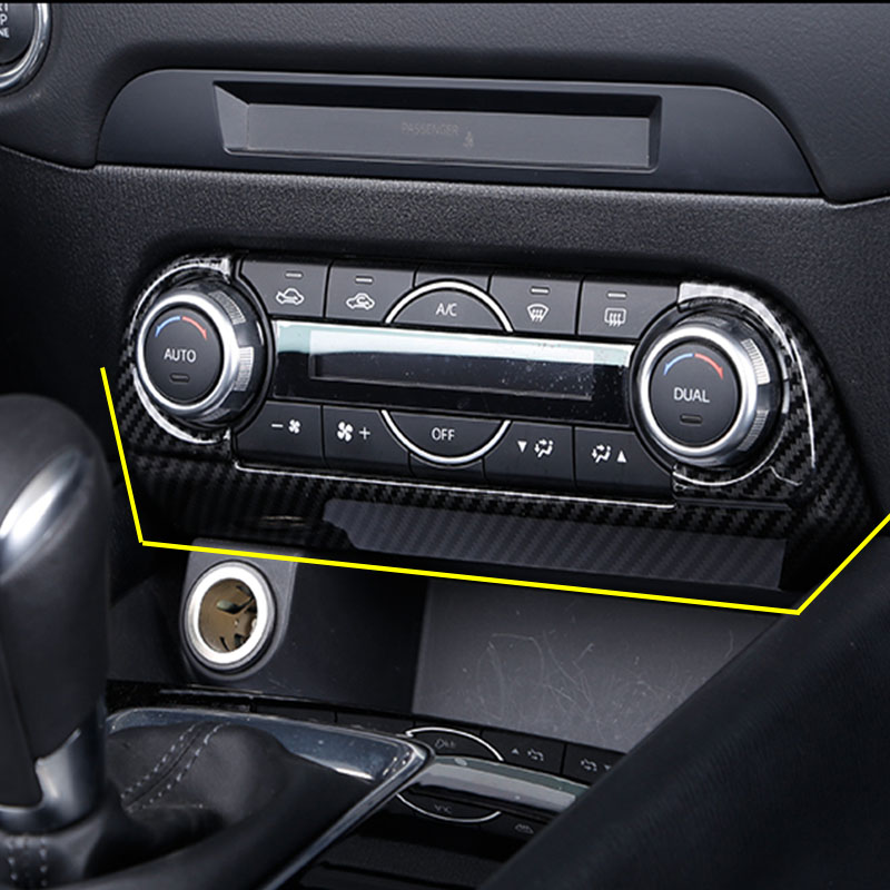 Carbon Fiber ABS Decoration Trim Front Air Condition Switch Frame Cover For <font><b>Mazda</b></font> <font><b>CX</b></font>-<font><b>5</b></font> CX5 <font><b>CX</b></font> <font><b>5</b></font> <font><b>2018</b></font> 2019 <font><b>Interior</b></font> <font><b>Accessories</b></font> image