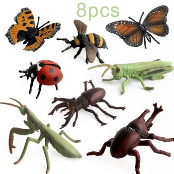 8pcs Simulation Insect Model Animal Figure Dragonfly Beetle Ladybird Grasshopper models figures figurines set toy Children Toys what the ladybird heard animal noises jigsaw book