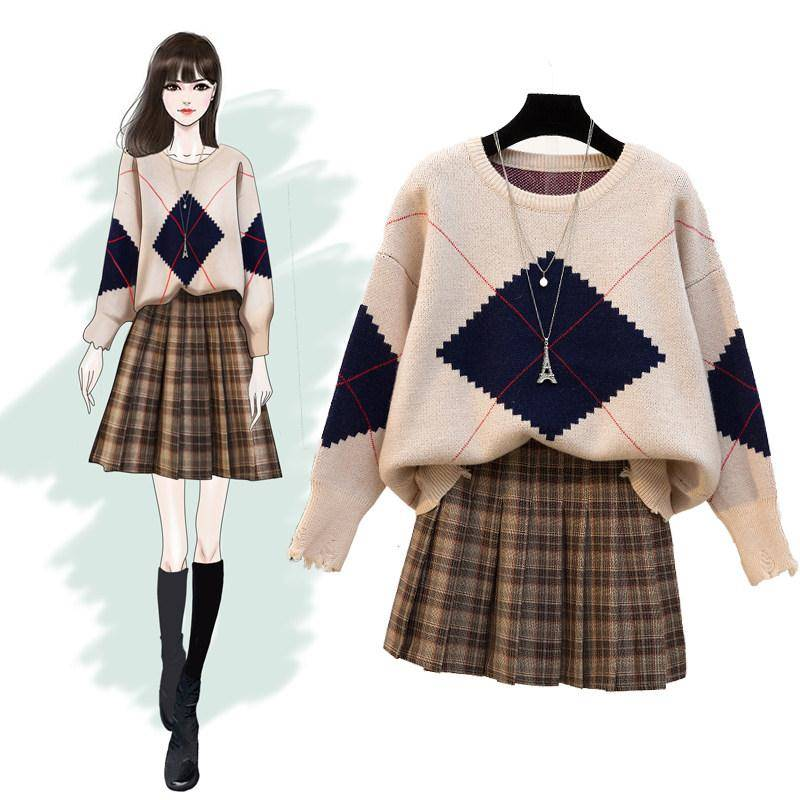 ICHOIX Plaid Mini Skirt 2 Piece Set Women Winter Clothing Knitted Sweater Two Piece Outfits Casual Student Korean 2 Piece Set